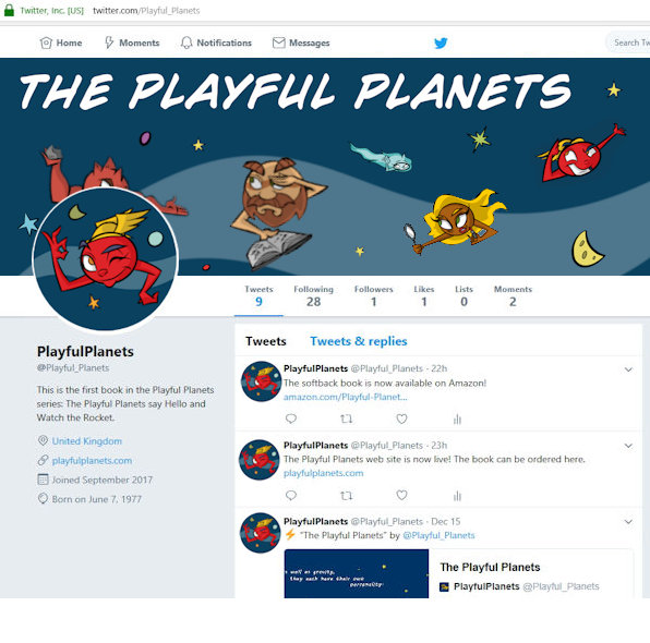Palyful Planets Twitter account